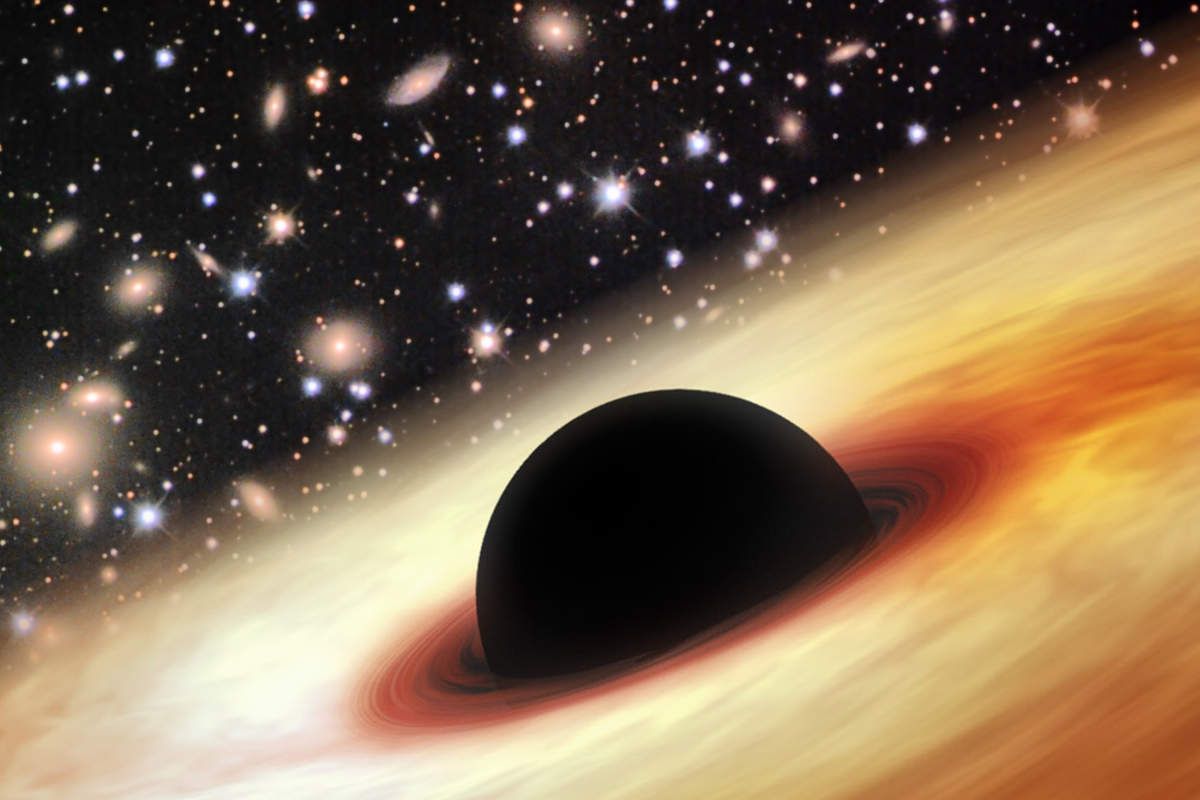 An artist's image of a quasar with a supermassive black hole in the distant Universe