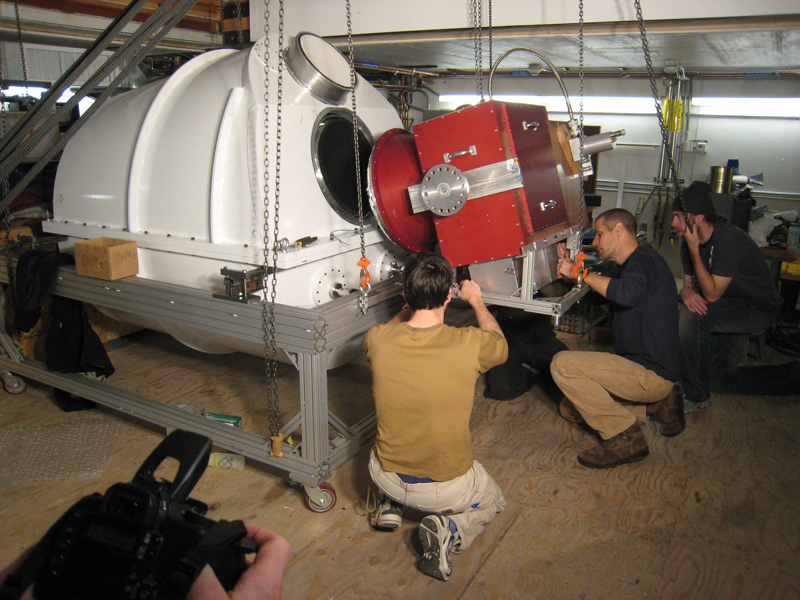 Bolometric Camera Being Mounted on Cryostat Unit
