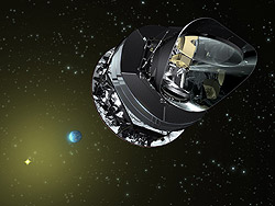 Artist's view showing the Planck satellite and the microwave radiation being collected by the telescope's primary and secondary mirrors.