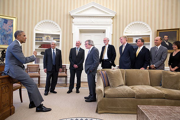 President Barack Obama greets the 2014 Kavli Prize laureates in the Oval Office, July 31, 2014. Clockwise from left: Kavli Laureates Andrei D. Linde, John O'Keefe, Alan H. Guth and Marcus E. Raichle; Kåre R. Aas, the Norwegian Ambassador to the United States; Rockell N. Hankin, Chairman of The Kavli Foundation; Robert W. Conn, President and CEO of The Kavli Foundation; Miyoung Chun, Executive Vice President of Science Programs of The Kavli Foundation.(Official White House Photo by Pete Souza) (Official White House Photo by Pete Souza)