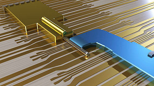 The device is made of an Indium Antemonide nanowire, covered with a Gold contact and partially covered with a Superconducting Niobium contact. The Majorana fermions are created at the end of the Nanowire. (Courtesy: Delft University)