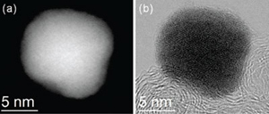 Atomic resolution images of the palladium-cobalt nanoparticle, before platinum deposition. (Courtesy: Muller Lab)
