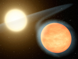 Artist concept of the extremely hot exoplanet WASP-12b and the host star. (Image: NASA/JPL-Caltech/R. Hurt (SSC))