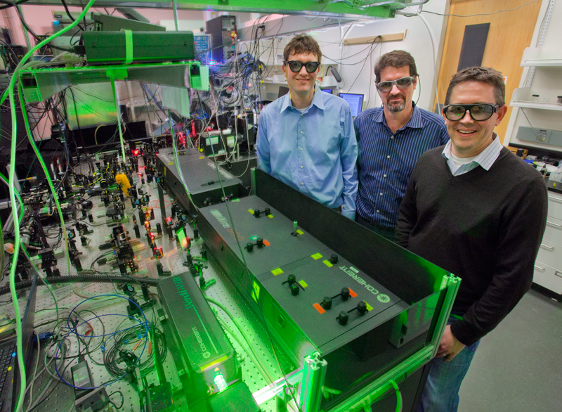 Lawrence Berkeley's Molecular Foundry director Jeff Neaton with scientists Jim Schuck, and Stefano Cabrini. The three are working together to visualize plasmonic fields.(Credit: Lawrence Berkeley National Lab - Roy Kaltschmidt, photographer)